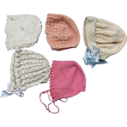 5 Vintage Knit Baby Doll Bonnets
