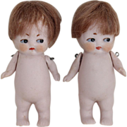 Pair of Hertwig German Chubby Bisque Dolls