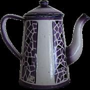 Purple Enamel Graniteware Coffee Pot