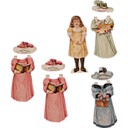 19thC Boraxine Advertising Paper Doll With Dresses And Hats