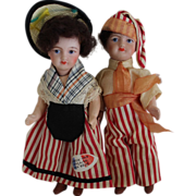 SOLD Pair of French Miniature Bisque Dolls