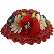 SOLD Pretty Red Doll Hat With Flowers