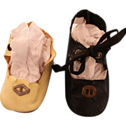 2 Single Oilcloth Doll Shoes With Toe Buckles
