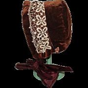 SOLD Brown Velvet Doll Bonnet