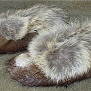 SOLD Inuit Hand Crafted Muskrat Moccasins with Coyote Trim 1987