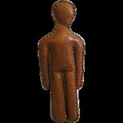 SALE Early Folk Art Primitive Leather Doll c1890
