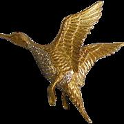 Amazing Estate 18k Gold and Diamond Duck Brooch 17.80gm