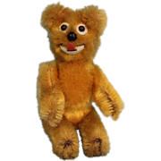 """SOLD Rare 3-1/2"""" Golden Schuco Janus Two Faced MohairTeddy Bear With swivel head - Red Ta"""