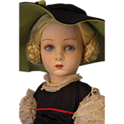 "SOLD Antique 24"" Lenci Doll Henrietta Felt Circa 1935 Original Clothing"