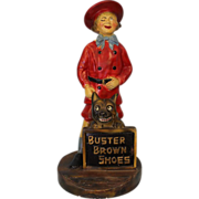 "SALE Antique Chalk 16.5"" Buster Brown & Tige Counter top Advertising Comic Character"