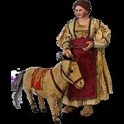 """SALE Early 14"""" Neapolitan Creche Circa 1800s Village woman Original Clothes Nice Cond"""