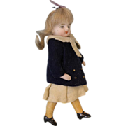 "SALE 3.5"" All Bisque Swivel Head German Bisque Doll w. Yellow socks 2 Straps ..."
