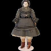 c.1870 Antique Early Greiner Papier Mache Doll from Original Denver Family