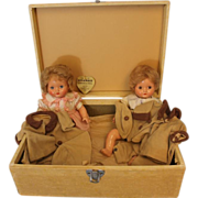 SOLD 1946 Effanbee Factory Original Mickey & Janie Composition Doll Set in Case w Tag - Re