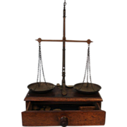 SALE Antique desk size Balance Scale with drawer full of weights, circa 1885-1900