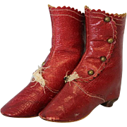 RARE Antique RED Leather French Fashion or German Bisque Doll Boots/Shoe Buttons