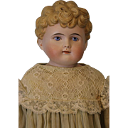 """SALE 22"""" Antique German Bisque Doll Marked 1214 // 8 Painted Eyes Molded Blonde Hair"""