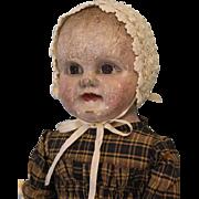 "SALE 21"" Antique Cloth Oil Painted Philadelphia Baby Doll J.B. Sheppard Dept Store"