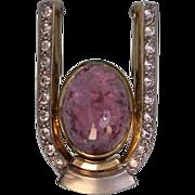 14 Karat Yellow Choice Custom made Diamond and Pink Tourmaline Pendant or Enhancer, Two Tone G