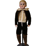 """SALE Antique 21"""" German Bisque Marked, 30/B 7.5 Dressed As Young Boy Closed Mouth"""