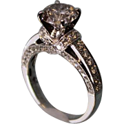 2 Carat 18 K White Gold HUGE Diamond Engagement Ring Round Center