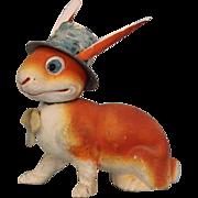 "SOLD Comical 9.5"" Antique Papier Mache German Figural Candy Container Rabbit Top hat!"