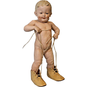 Antique 14.5 inch German Bisque Gebruder Heubach Wearing Mommy's Shoes, with Laces
