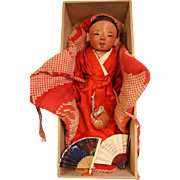 "SALE 16"" Japanese Ichimatsu Sexed Boy Baby c.1880 Red Tint Gofun Kimono & box"