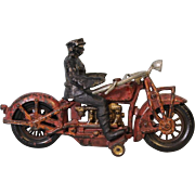 """SOLD Hubley 9"""" Antique Cast Iron motorcycle with removable driver Original Paint"""