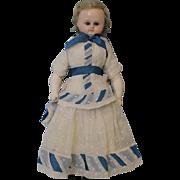 "SALE Antique c.1880 18"" German Wax Doll Glass Sleep Eyes Original Dress & Wig!"