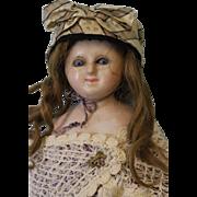 "SALE Early 25"" Antique German Wax Doll Lever Sleep Eyes c.1865 Wax Over Papier Mache"