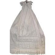 43 inch English Antique Christening Gown circa 1875 Clean Broderie Anglaise Lace