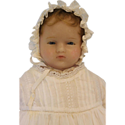 """SALE Early 16"""" Antique Poured Wax Doll 1880 Pierotti Look Glass Eyes Inserted Hair"""