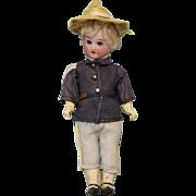 """SALE 6.5"""" All Original Antique Soldier Boy doll bisque head 5 piece Papier Mache Body"""