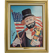 """SALE Red Skelton Clown """"Old Glory"""" Signed, numbered, original frame,thumb print"""