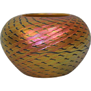 5.5 inch Signed Lundberg Studios art glass Red Indian Basket, 24 inch circumference