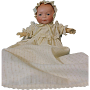 "SALE 12"" Antique Amberg Newborn Solid Dome Baby Doll Sleep Eyes circa 1914"