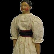 """SALE 23"""" Antique PAPIER-MÂCHÉ Doll SHORT-HAIR c1850 MILLINER'S MODEL Very Old Clothes"""