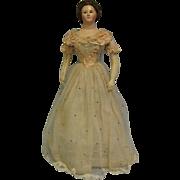 """SALE 21"""" Antique FRENCH PAPIER-MÂCHÉ c1850 LADY Original Glass Eyes HH Wig & Costume"""