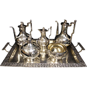 SALE Sterling SILVER c1860 Medallion Coffee & Tea set by Wendt Ball Black & Co. NY.