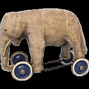SALE Wonderful Antique Steiff Elephant on Wheels Pull Toy c.1950's Button In Ear
