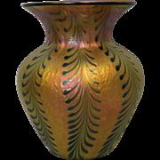 "SALE 7.5"" Signed Lundberg Studios Art Glass Iridescent Vase SIGNED Contemporary"