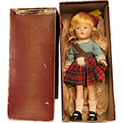 "9"" Madame Alexander Little Betty Scottish Doll All orig. Orig RED Box 1937-41"