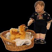 """SOLD 16"""" Antique Klötzer Erich Cloth Art Doll c.1927 Original Outfit"""