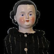 "22"" Antique German Kestner China Head Doll Rare Hairstyle w/ Headband c1860"