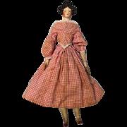 """12"""" Antique German 1830's Papier Mache Apollo knot doll Wood limbs Orig clothes"""