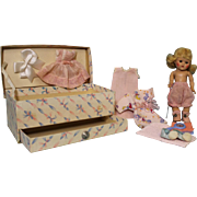 8 inch Painted Lash Ginny Doll 1952 Trunk with Pull Out Drawer and Wardrobe, Rosy ...