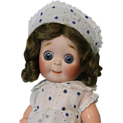 "Antique 11"" JDK Kestner 221 Doll in such a Sweet SMALL SIZE blue glass Sleep Eyes German"