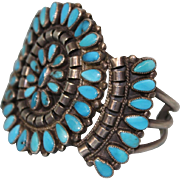 Antique Zuni sterlling silver Pettipoint and turquoise cuff bracelett