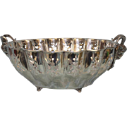 Antique 41 inch Circumference Large silver plate pierced and footed fruit bowl